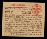 1950 Bowman #247 ^CR^ Irv Noren  Back Thumbnail