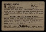 1952 Bowman Small #18  Charlie Justice  Back Thumbnail