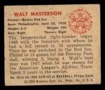 1950 Bowman #153  Walt Masterson  Back Thumbnail