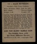 1948 Bowman #14  Allie Reynolds  Back Thumbnail