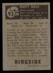 1951 Topps Ringside #93  Marty Servo  Back Thumbnail