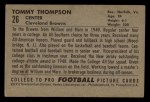1952 Bowman Small #26  Tommy Thompson  Back Thumbnail