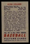 1951 Bowman #91  Clyde Vollmer  Back Thumbnail