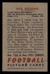1951 Bowman #126  Dick Wildung  Back Thumbnail