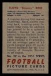 1951 Bowman #52  Floyd Reid  Back Thumbnail