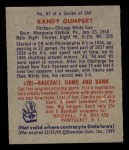 1949 Bowman #87  Randy Gumpert  Back Thumbnail