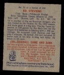 1949 Bowman #93  Ed Stevens  Back Thumbnail