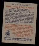 1949 Bowman #77  Ernie Bonham  Back Thumbnail