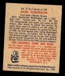 1949 Bowman #17  Earl Torgeson  Back Thumbnail