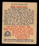 1949 Bowman #20  Gene Hermanski  Back Thumbnail