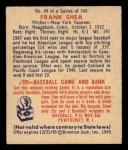 1949 Bowman #49  Frank Shea  Back Thumbnail