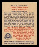 1949 Bowman #64  Dom DiMaggio  Back Thumbnail