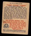1949 Bowman #22  Peanuts Lowrey  Back Thumbnail