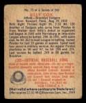1949 Bowman #73  Billy Cox  Back Thumbnail