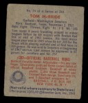1949 Bowman #74  Tom McBride  Back Thumbnail