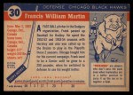 1954 Topps #30  Frank Martin  Back Thumbnail