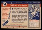 1954 Topps #14  Jack Evans  Back Thumbnail