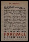 1951 Bowman #51  Ed Sprinkle  Back Thumbnail