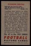 1951 Bowman #67  Gordon Soltau  Back Thumbnail