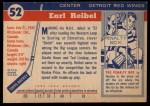 1954 Topps #52  Earl Reibel  Back Thumbnail
