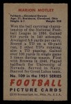 1951 Bowman #109  Marion Motley  Back Thumbnail