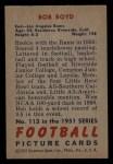 1951 Bowman #113  Bob Boyd  Back Thumbnail