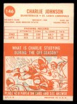 1963 Topps #146  Charlie Johnson  Back Thumbnail