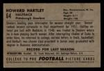 1952 Bowman Small #64  Howard Hartley  Back Thumbnail