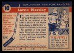 1954 Topps #10  Gump Worsley  Back Thumbnail
