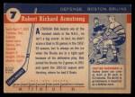 1954 Topps #7  Bob Armstrong  Back Thumbnail