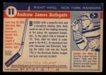 1954 Topps #11  Andy Bathgate  Back Thumbnail