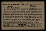 1952 Bowman Small #71  DeWitt Tex Coulter  Back Thumbnail
