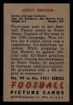 1951 Bowman #99  Jerry Groom  Back Thumbnail
