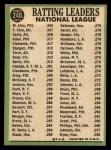 1967 Topps #240   -  Felipe Alou / Matty Alou / Rico Carty NL Batting Leaders Back Thumbnail