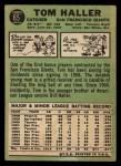 1967 Topps #65  Tom Haller  Back Thumbnail