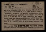 1952 Bowman Small #110  Jack Simmons  Back Thumbnail