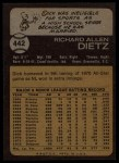 1973 Topps #442  Dick Dietz  Back Thumbnail