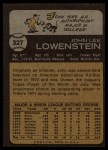 1973 Topps #327  John Lowenstein  Back Thumbnail