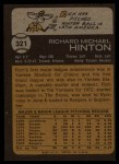 1973 Topps #321  Rich Hinton  Back Thumbnail