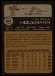 1973 Topps #644  Jack Heidemann  Back Thumbnail