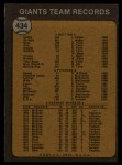1973 Topps #434   Giants Team Back Thumbnail