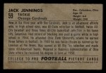 1952 Bowman Small #59  Jack Jennings  Back Thumbnail