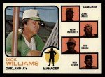 1973 Topps #179 ORG  -  Dick Williams / Jerry Adair / Vern Hoscheit / Irv Noren / Wes Stock A's Leaders Front Thumbnail