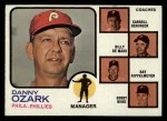 1973 Topps #486 BRN  -  Danny Ozark / Carroll Beringer / Billy De Mars / Ray Rippelmeyer / Bobby Wine Phillies Leaders Front Thumbnail