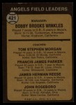 1973 Topps #421 BRN  -  Bobby Winkles / Tom Morgan / Salty Parker / Jimmie Reese / John Roseboro Angels Leaders Back Thumbnail