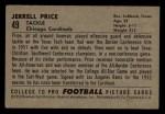 1952 Bowman Small #49  Jerrell Price  Back Thumbnail