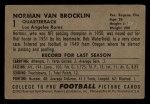 1952 Bowman Small #1  Norman Van Brocklin  Back Thumbnail