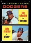 1971 Topps #188   -  Bobby Valentine / Mike Strahler Dodgers Rookies Front Thumbnail