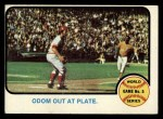 1973 Topps #207   -  Blue Moon Odom / Johnny Bench 1972 World Series - Game #5 - Odom Out at Plate Front Thumbnail
