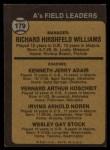 1973 Topps #179 *BRN*  -  Dick Williams / Jerry Adair / Vern Hoscheit / Irv Noren / Wes Stock  A's Leaders Back Thumbnail